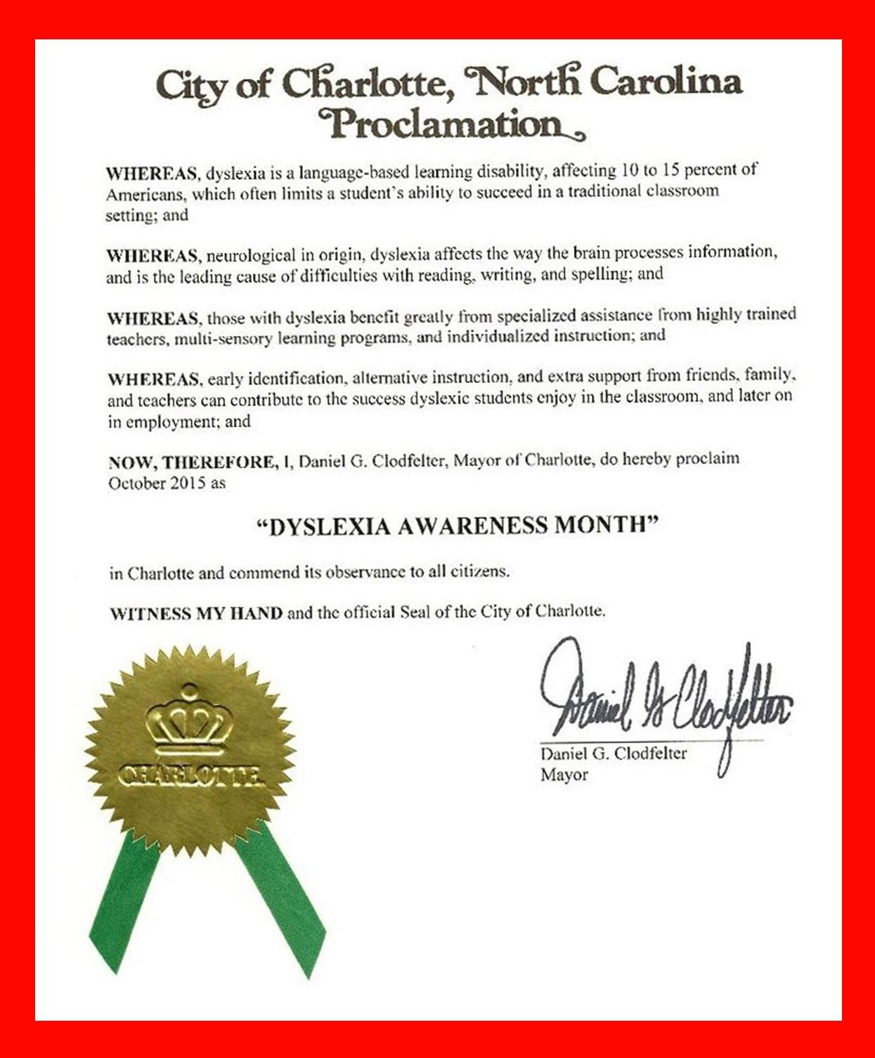 Charlotte Proclamation for Dyslexia Awareness Month