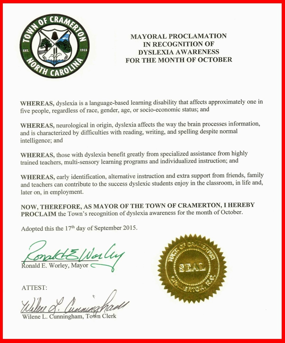 Cramerton Proclamation