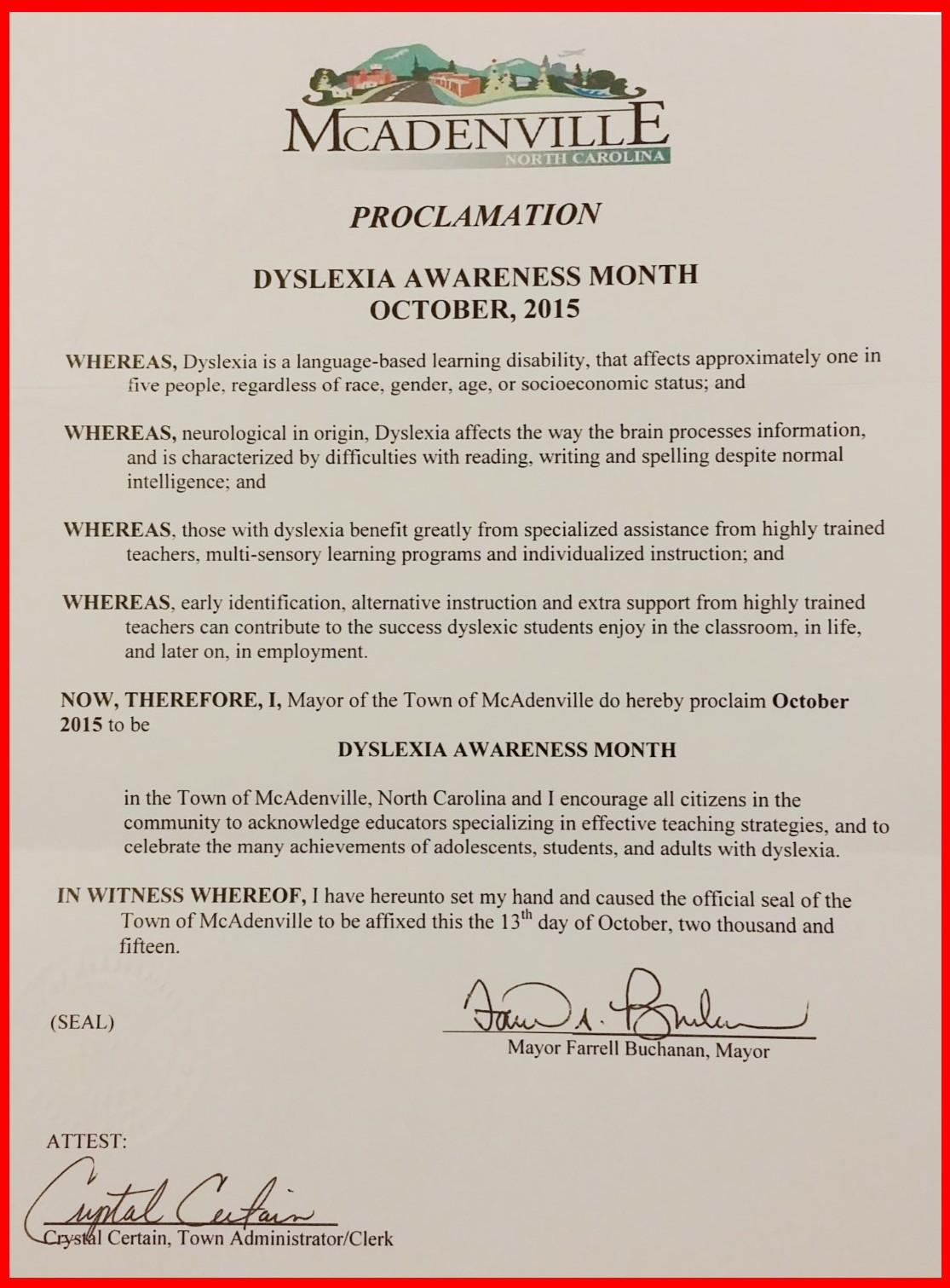 McAdenville Proclamation