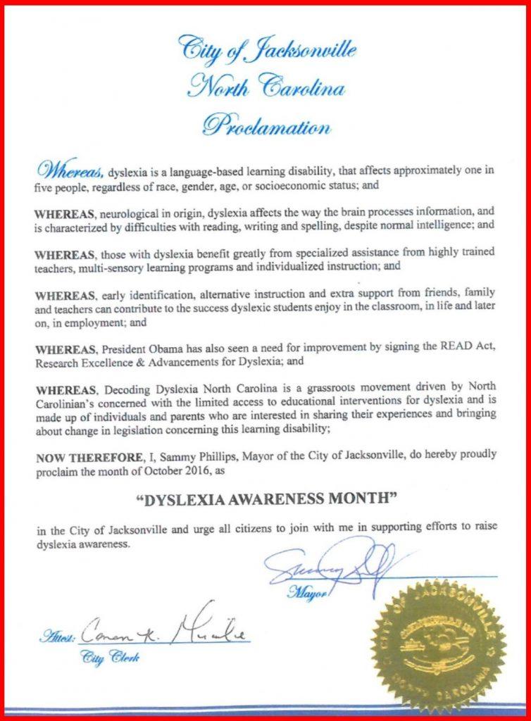 Jacksonville Dyslexia Proclamation