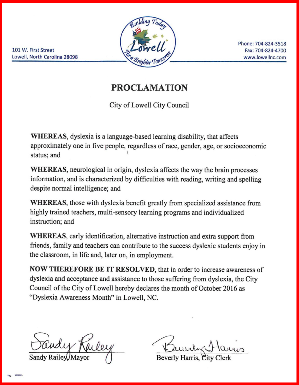Lowell Dyslexia Proclamation