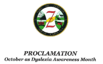 Zebulon has proclaimed October as Dyslexia Awareness Month!