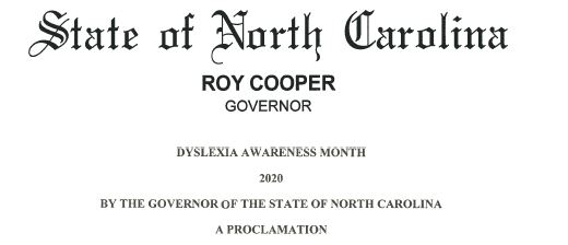 North Carolina Dyslexia Awareness Proclamation